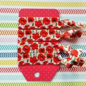 Accessories - Set of 4 Hair Ties - Red Poppy Floral Flowers